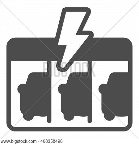 Gas Station With Three Electric Cars Solid Icon, Electric Car Concept, Ev Charging Station Sign On W