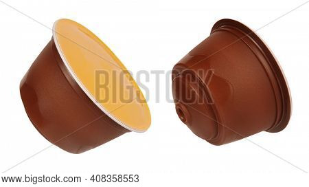 Modern coffee pod plastic capsule pod isolated on white background