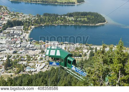 Queenstown New Zealand - March 1 2015; View From Bob's Peak And Aj Hackett Bungy Above Queenstown To
