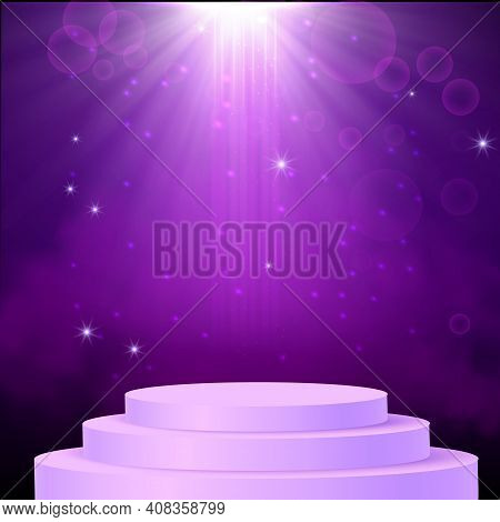 Purple Spotlight. Bright Lighting With Spotlights Of The Stage With Purple Dust And Cylinder Podium