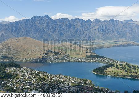 View From Bob's Peak Above Queenstown Township, Queenstown Gardens And Lake Wakatipu Below And Remar
