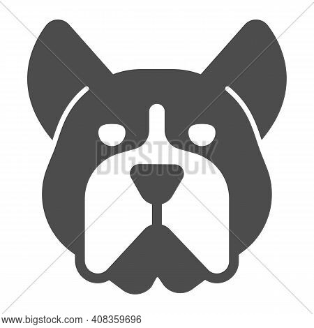 Bulldog Head Solid Icon, Domestic Animals Concept, Dog Sign On White Background, Angry Bulldog Head