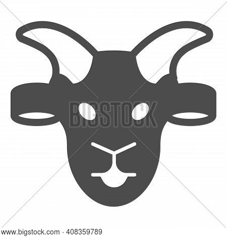 Goat Head Solid Icon, Domestic Animals Concept, Domestic Goat Sign On White Background, Sheep Silhou