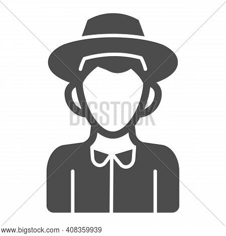 Farmer Boy Solid Icon, Thanksgiving Day Concept, Peasant In Hat Sign On White Background, Character