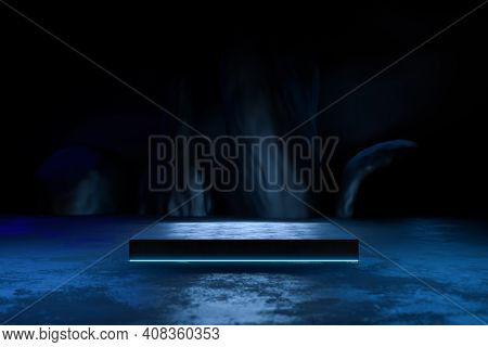 Abstract Black Background, Futuristic Pedestal For Product Presentation, Blank Product Stand, Futuri