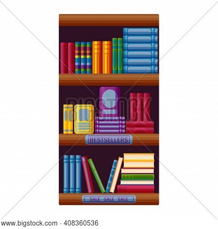 Bookshop Rack With Bestsellers And Sale Options. Bookstore Shelf In Cartoon Style. Vector Illustrati