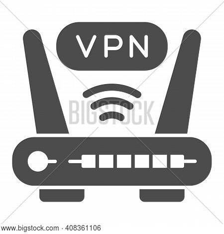 Router With Vpn Connection Solid Icon, Web Security Concept, Virtual Private Network Sign On White B