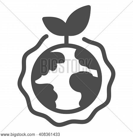 Planet With Plant And Ozone Layer Solid Icon, Electric Car Concept, Green Earth Sign On White Backgr