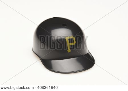 IRVINE, CALIFORNIA - FEBRUARY 28, 2019:  Closeup of a mini collectable batters helmet for the Pittsburgh Pirates of Major League Baseball.