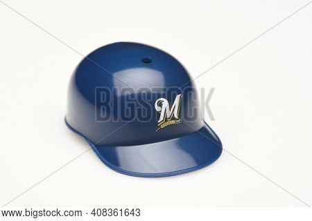 IRVINE, CALIFORNIA - FEBRUARY 28, 2019:  Closeup of a mini collectable batters helmet for the Milwaukee Brewers of Major League Baseball.