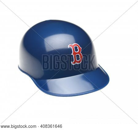 IRVINE, CALIFORNIA - FEBRUARY 27, 2019:  Closeup of a mini collectable batters helmet for the Boston Red Sox of Major League Baseball.