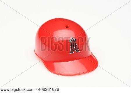 IRVINE, CALIFORNIA - FEBRUARY 28 2019:  Closeup of a mini collectable batters helmet for the Los Angeles Angels of Anaheim of Major League Baseball.