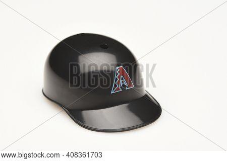 IRVINE, CALIFORNIA - FEBRUARY 28, 2019:  Closeup of a mini collectable batters helmet for the Arizona DiamondbacKs of Major League Baseball.