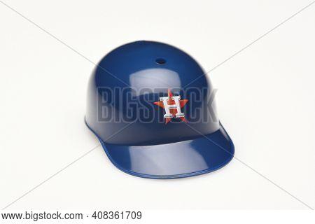 IRVINE, CALIFORNIA - FEBRUARY 28, 2019:  Closeup of a mini collectable batters helmet for the Houston Astros of Major League Baseball.