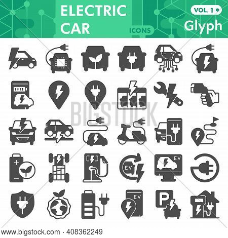 Electric Car Solid Icon Set, Electric Vehicle Symbols Collection Or Sketches. Eco Transport Glyph St