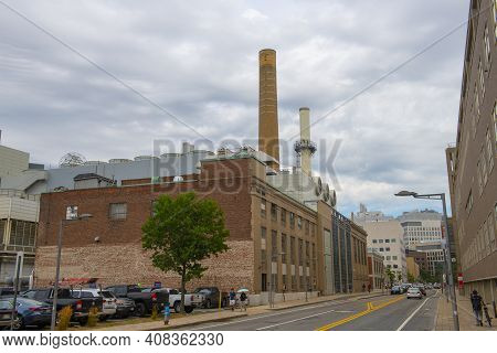 Cambridge, Ma, Usa - Aug. 19, 2020: Power Plant Of Massachussets Institute Of Technology (mit), Camb
