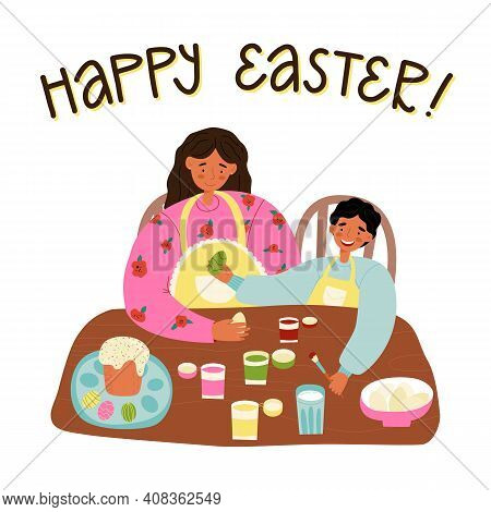 A Mother And A Son Easter Pastime Cute Scene. Woman Teaches Her Little Boy To Decorate Easter Eggs W