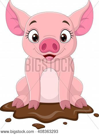 Cartoon Funny Pig Sitting In The Mud