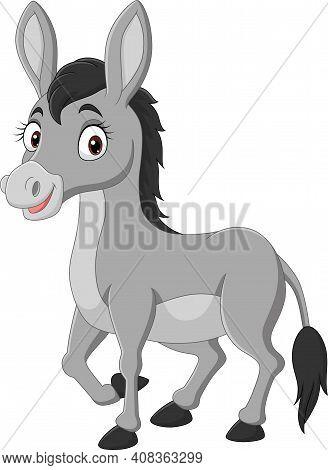 Vector Illustration Of  Cartoon Happy Donkey On White Background