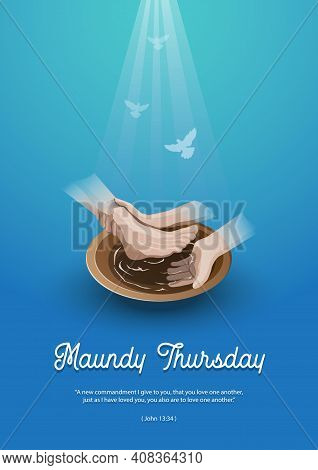 Maundy Thursday, Good Or Holy Thursday Color Vector Illustration With Washing Of The Feet
