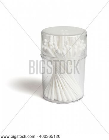 Cotton Buds in Plastic Container on White Background