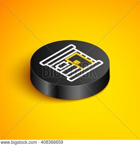 Isometric Line Sauna Wooden Bathhouse Icon Isolated On Yellow Background. Heat Spa Relaxation Therap