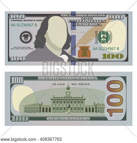 Hundred Dollar Bill, New Design On Both Sides. 100 Us Dollars Banknote, From Front And Reverse Side.
