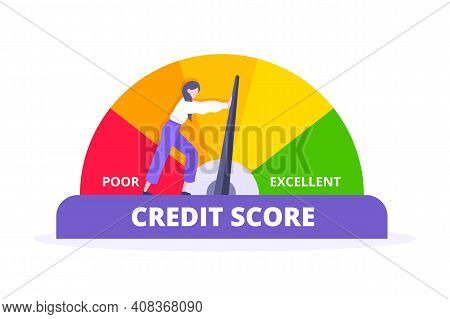 Woman Pushes Credit Score Arrow Gauge Speedometer Indicator With Color Levels. Measurement From Poor