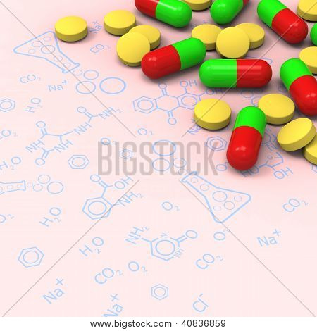Pills and capsules on chemical diagram