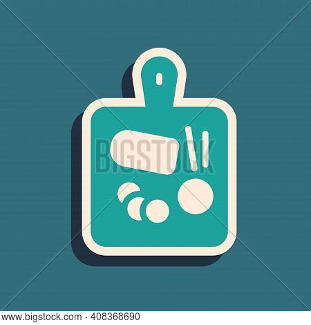 Green Cutting Board Icon Isolated On Green Background. Chopping Board Symbol. Long Shadow Style. Vec
