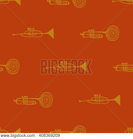 Funny Seamless Pattern With Yellow Trumpets On An Orange Background. Musical Collection.