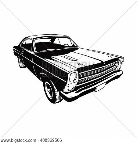 Classic Sport Car, Muscle Car, Vintage Car, Stencil, Silhouette, Vector Clip Art For Tshirt And Embl