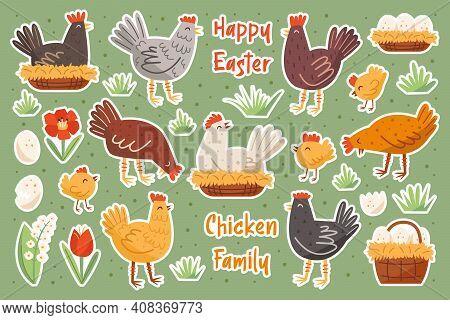 Set Of Chicken Family. Chicken, Hen, Cock, Egg, Nest, Flower. Farm Domestic Animals, Birds. Happy Ea