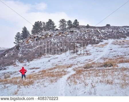 winter hiking at Colorado foothills of Rocky Mountains - Lory State Park near Fort COllins