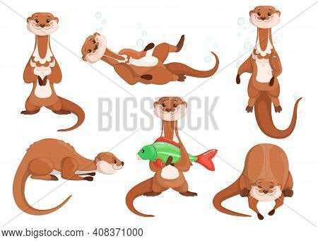 Funny Brown Otter Set. Happy Cute Weasel Fishing, Hunting, Diving Under Water In Different Poses. Ve