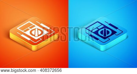 Isometric Ampere Meter, Multimeter, Voltmeter Icon Isolated On Orange And Blue Background. Instrumen