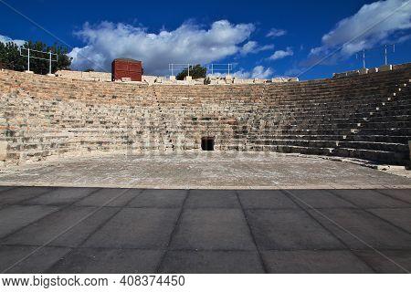 Limassol, Cyprus - 03 Jan 2016. Ancient Ruins Of Kourion On The Coast Of Mediterranean Sea, Cyprus