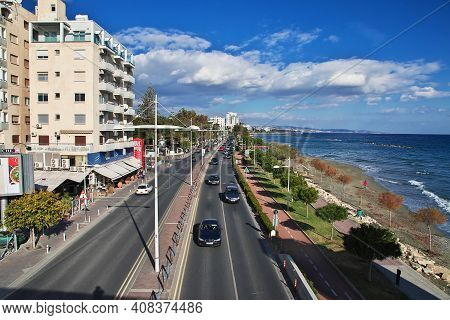 Limassol, Cyprus - 03 Jan 2016: The Road In Limassol, Cyprus