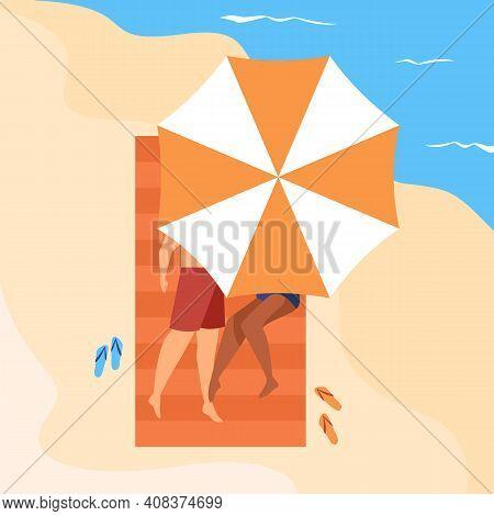 Diverse Couple Lying On Sand At Sea. Tourists Taking Tan, Sunbathing Under Umbrella. Flat Vector Ill