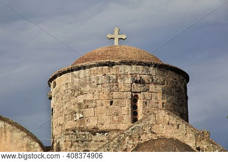 Paralimni, Cyprus - 08 Jan 2016: The Ancient Church In Paralimni Town, Cyprus