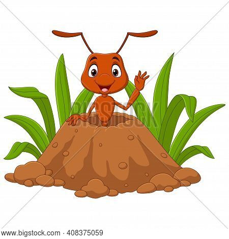 Vector Illustration Of Cartoon Ants In The Ant Hill