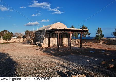 Potamos, Cyprus - 08 Jan 2016: The Church In Potamos Village Close Mediterranean Sea, Cyprus