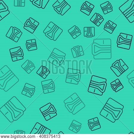 Black Line Bathrobe Icon Isolated Seamless Pattern On Green Background. Vector