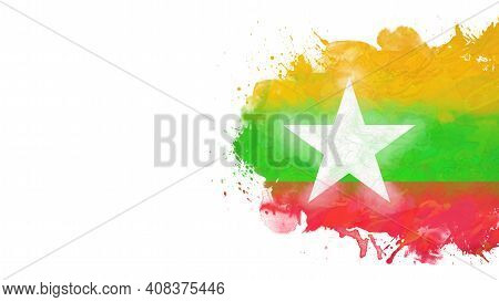National Flag Of Myanmar, Watercolor. Splashes And Stains Isolated On White Background. Place For Te