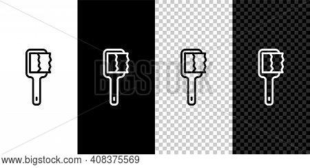 Set Line Sauna Brush Icon Isolated On Black And White, Transparent Background. Wooden Brush With Coa