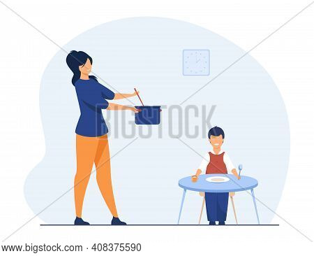 Mother Feeding Child At Home. Kid Waiting For Dinner At Table With Dish. Flat Vector Illustration. F