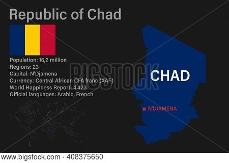 Highly Detailed Chad Map With Flag, Capital And Small Map Of The World