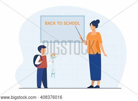School Student Giving Flowers To Teacher. Pupil And Tutor Meeting At Blackboard In Class. Flat Vecto