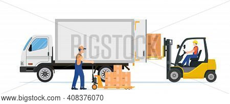 Forklift Loading Pallet Boxes Into Truck. Warehouseman With Checklist. Electric Uploader Loading Car
