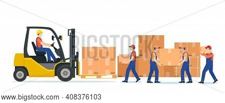 Men Loading Boxes On Forklift. Delivery Service. Isolated On White Background. Delivery, Logistic An